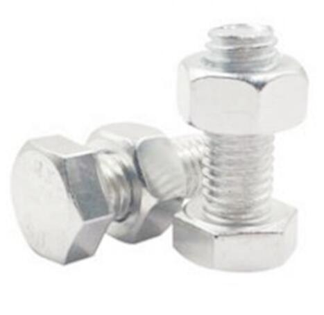 Double Thread Stud Hex Head Bolt Steel Material With Two Nuts ISO4032
